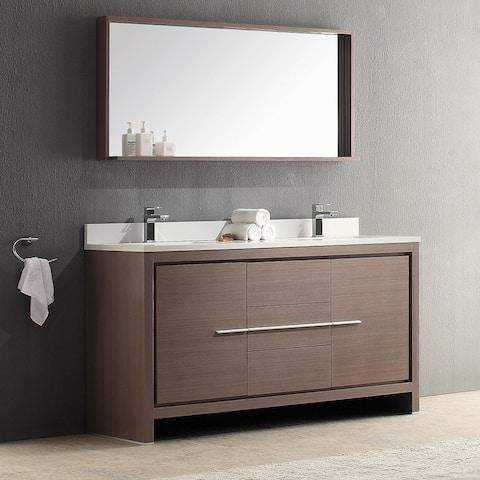 Fresca Allier 60-inch Grey Oak Modern Double Sink Bathroom Vanity with Mirror