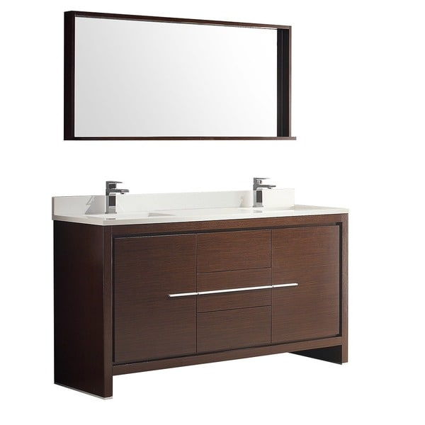 60inch Wenge Brown Modern Double Sink Bathroom Vanity with Mirror