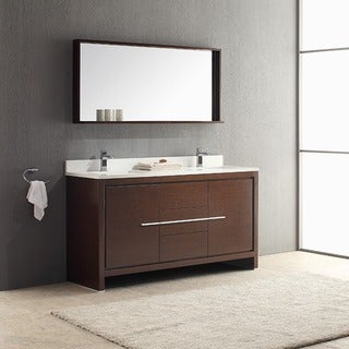 Fresca Allier 60-inch Wenge Brown Modern Double Sink Bathroom Vanity with Mirror
