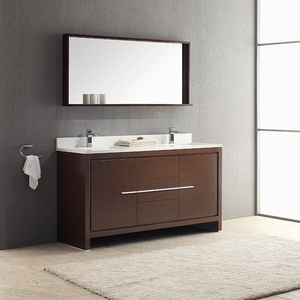 Fresca allier 60 inch wenge brown modern double sink for Wenge bathroom mirror
