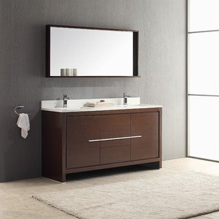 double vanity sink 60 inches. fresca allier 60-inch wenge brown modern double sink bathroom vanity with mirror 60 inches