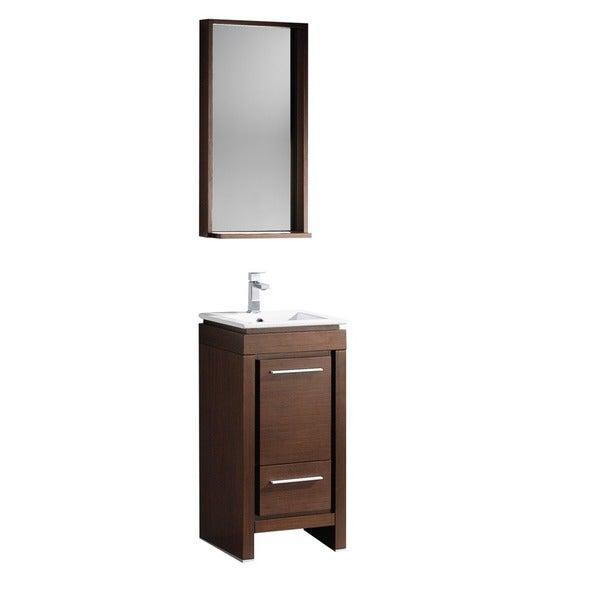 Fresca Allier 16-inch Wenge Brown Modern Bathroom Vanity with Mirror