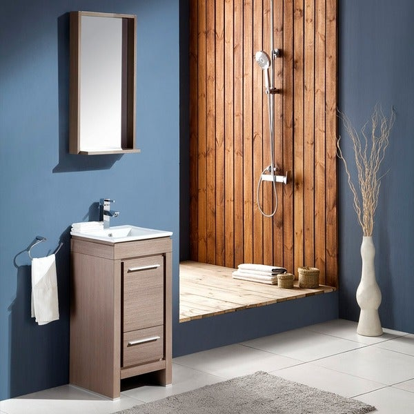 Fresca Allier 16-inch Grey Oak Modern Bathroom Vanity with Mirror