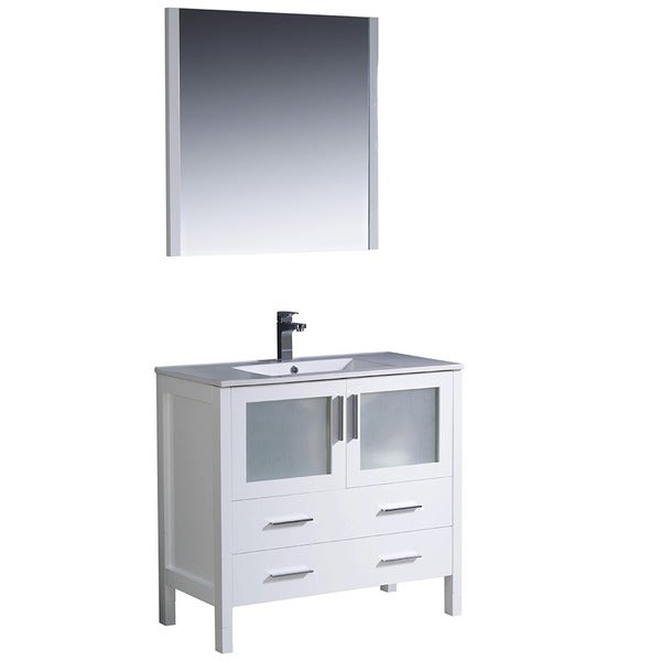 Shop fresca torino 36 inch white modern bathroom vanity with undermount sink free shipping for White bathroom vanity 36 inch
