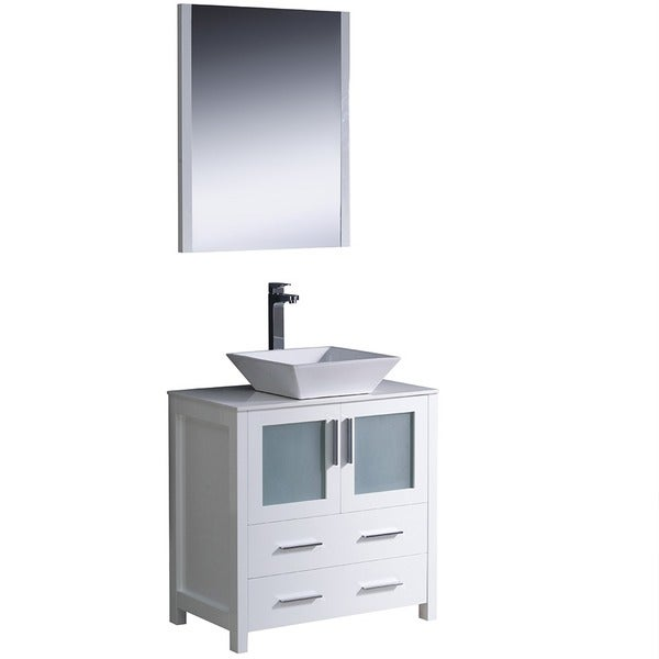 Shop Fresca Torino 30 Inch White Modern Bathroom Vanity With Vessel