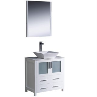 Fresca Torino 30-inch White Modern Bathroom Vanity with Vessel Sink