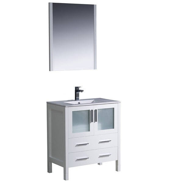 Fresca torino 30 inch white modern bathroom vanity with undermount