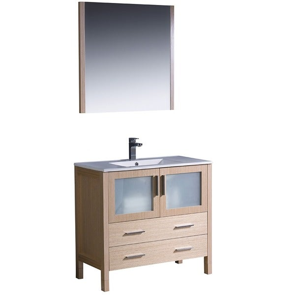 Fresca Torino 36 Inch Light Oak Modern Bathroom Vanity With Vessel Sink And Faucet Free