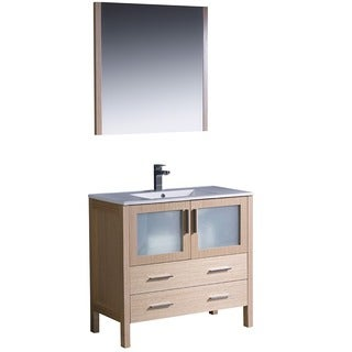 Fresca Torino 36-Inch Light Oak Modern Bathroom Vanity with Vessel Sink and Faucet