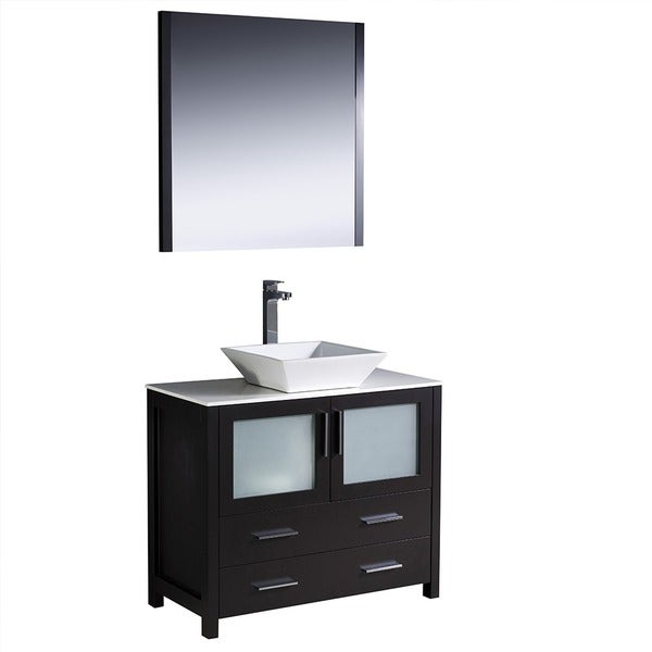 Fresca torino 36 inch espresso modern bathroom vanity with vessel sink