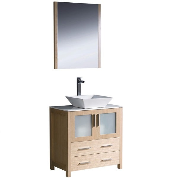 Shop Fresca Torino 30 Inch Light Oak Modern Bathroom Vanity With Vessel Sink Free