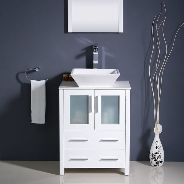Fresca Torino 24 Inch White Modern Bathroom Vanity With Vessel Sink Overstock 7456528