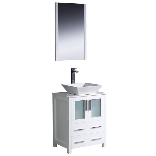 Fresca Torino 24 Inch White Modern Bathroom Vanity With Vessel Sink