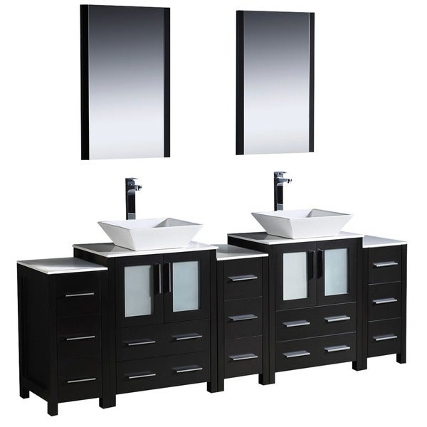 Shop Fresca Torino 84 Inch Espresso Modern Bathroom Double Vanity With 3 Side Cabinets And