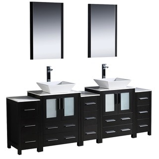 Fresca Torino 84-inch Espresso Modern Bathroom Double Vanity with 3 Side Cabinets and Vessel Sinks