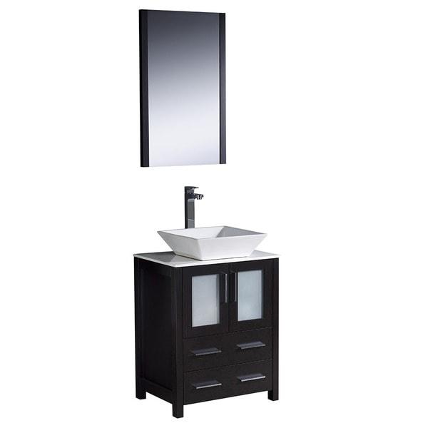 Shop fresca torino 24 inch espresso modern bathroom vanity with vessel sink free shipping for Modern bathroom vanity 24 inch