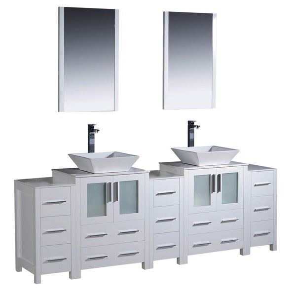 Fresca Torino 84 Inch White Modern Bathroom Vanity With Double Vessel Sinks
