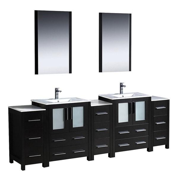 Shop fresca torino 84 inch espresso modern bathroom double vanity with undermount sinks free for 84 inch double sink bathroom vanity