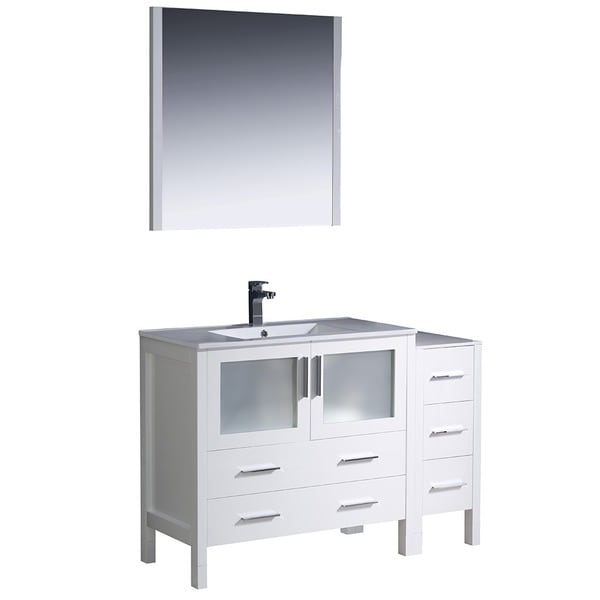 Fresca Torino 48-inch White Modern Bathroom Vanity with Side Cabinet and Undermount Sink