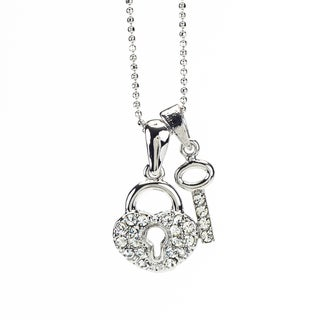 Rhodium Crystal 'Heart Lock' Pendant (Thailand)