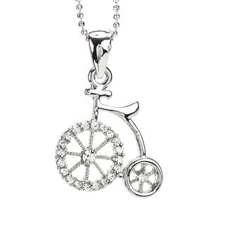 Rhodium Crystal 'Bicycle Man' Pendant (Thailand)