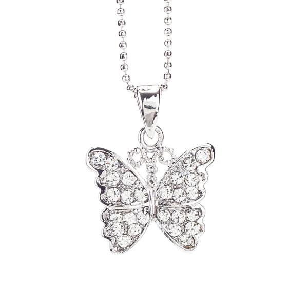 Rhodium Crystal 'Butterfly' Pendant (Thailand)