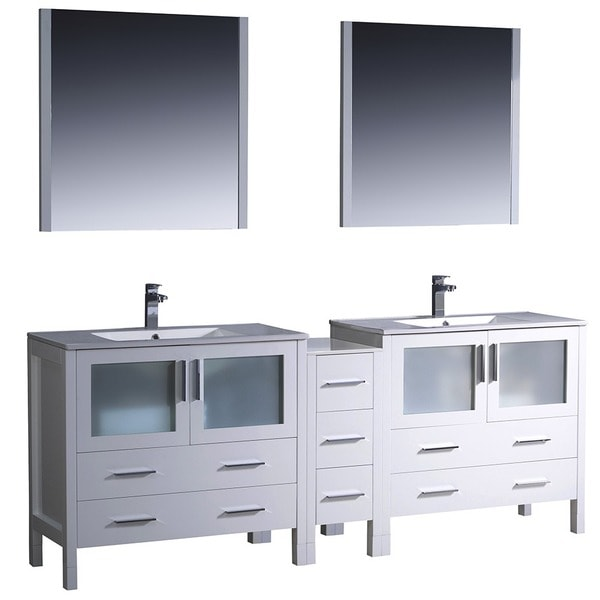 Fresca Torino 84 Inch White Modern Double Sink Bathroom Vanity With Side Cabinet And Undermount