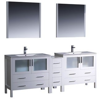 84 inch white modern double sink bathroom vanity with side cabinet