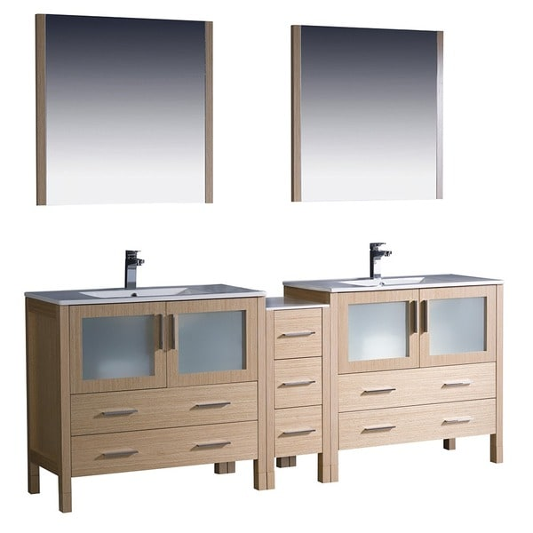 Shop fresca torino 84 inch light oak modern double sink - 50 inch double sink bathroom vanity ...