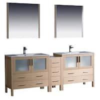 Fresca Torino 84-inch Light Oak Modern Double Sink Bathroom Vanity with Side Cabinet and Undermount Sinks