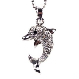 Rhodium Crystal 'Dolphin' Pendant (Thailand)
