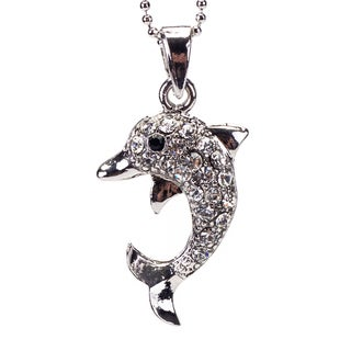 Handmade Rhodium Crystal 'Dolphin' Pendant (Thailand)