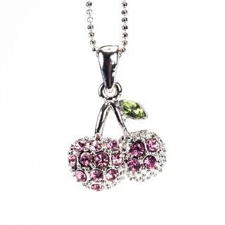 Rhodium Crystal 'Cherry' Pendant (Thailand)