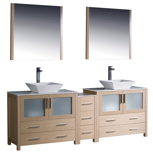 Fresca Torino 84 Inch Light Oak Modern Double Sink Bathroom Vanity With Side