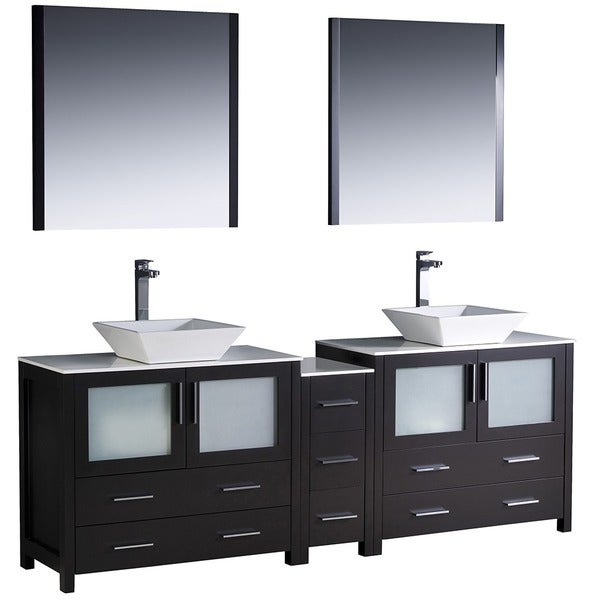 Fresca Torino 84 Inch Espresso Modern Double Sink Bathroom Vanity With Side C