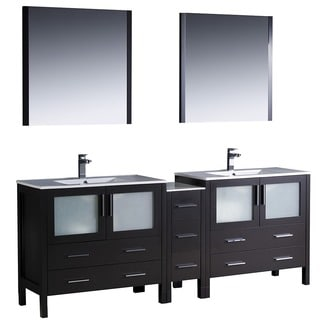 Fresca Torino 84-inch Espresso Modern Double Sink Bathroom Vanity with Side Cabinet and Undermount Sinks