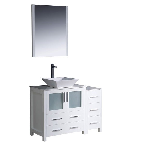shop fresca torino 42 inch white modern bathroom vanity with side cabinet and vessel sink free. Black Bedroom Furniture Sets. Home Design Ideas