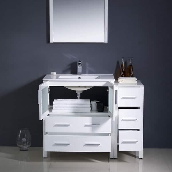 Fresca Torino 42 Inch White Modern Bathroom Vanity With