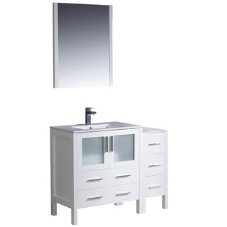 fresca torino 42inch white modern bathroom vanity with side cabinet and undermount sink