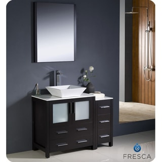 fresca torino 42inch espresso modern bathroom vanity with side cabinet and vessel sink