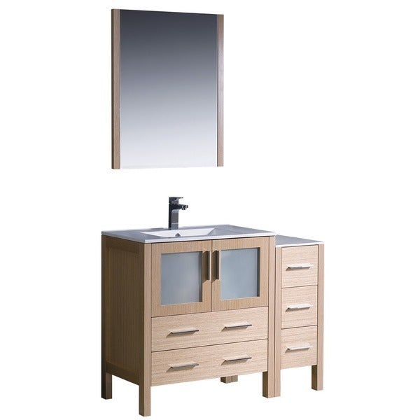 Shop Fresca Torino 42 Inch Light Oak Modern Bathroom Vanity With Side Cabinet And Undermount
