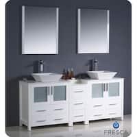Fresca Torino 72-inch White Modern Double Sink Bathroom Vanity wit Side Cabinet and Vessel Sinks