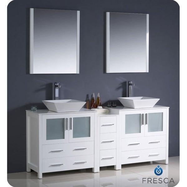 modern double sink bathroom vanity wit side cabinet and vessel sinks