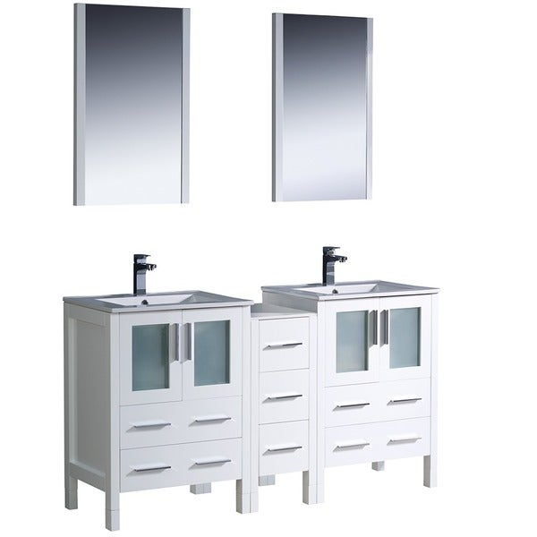 Shop fresca torino 72 inch white modern double sink bathroom vanity with side cabinet and for 72 inch bathroom vanity cabinet