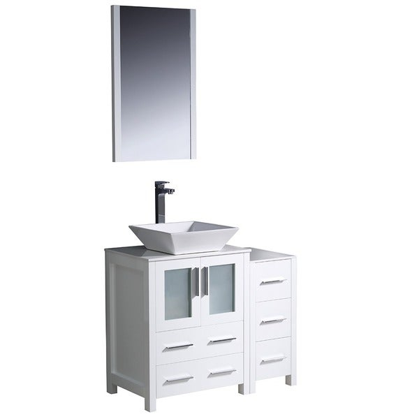 Fresca Torino 36 Inch White Modern Bathroom Vanity With Side Cabinet And  Vessel Sink