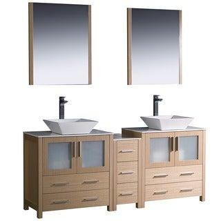 Fresca Light Oak Double Sink Bathroom Vanity