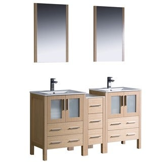 Fresca Light Oak Double-Sink Bathroom Vanity with Frosted Glass Panels