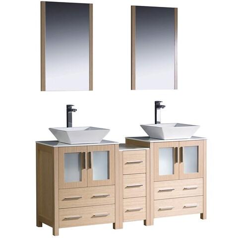 Fresca Light Oak Double Bathroom Sink Vanity