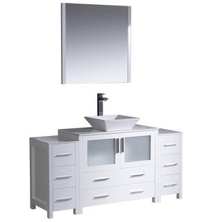 Fresca Torino 60-inch White Modern Bathroom Vanity with Side Cabinets and Vessel Sink