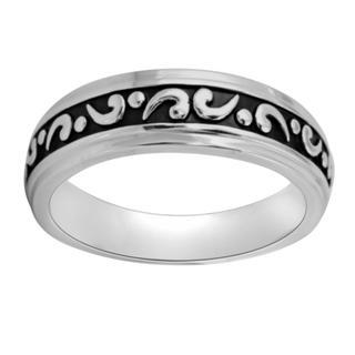 Bridal Symphony Sterling Silver Men's Engraved Black Antiqued Wedding-style Ring